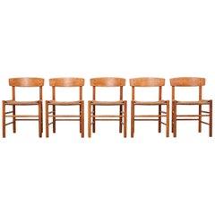 Oak Dining Chairs Model J39 by Børge Mogensen, Set of Five
