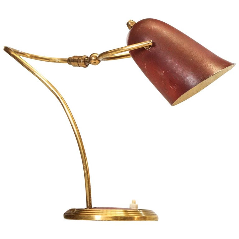 French Table Lamp in Brass, 1950s