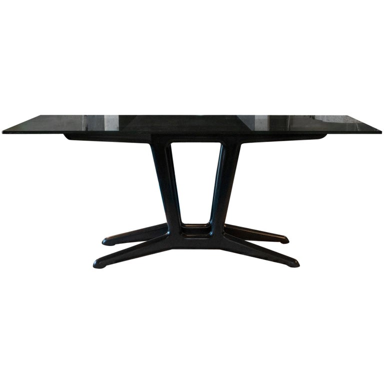 1950s Italian Ebonized Cherry Wood Dining Table in the Style of Carlo Mollino