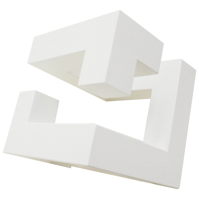 "White Metal Sculture ""Diagonal Cube 18010"" Designed by Josecho López Llorens"