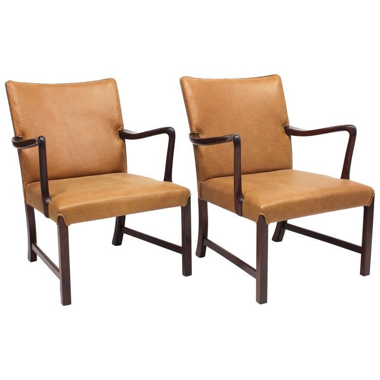 Danish Model 1756 Easy Chairs, Ole Wanscher for Fritz Hansen, 1940s, Set of Two