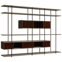 Contemporary Bookcase C, Etched Brass, Pivoting Doors and Stone Elm Shelves