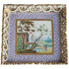 Little Square Tray in Sevres Porcelain with Landscape Decoration, circa 1765