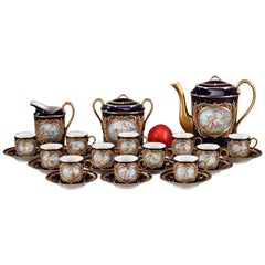 Antique China Coffee Service with Mythological Scenes in Sevres Taste