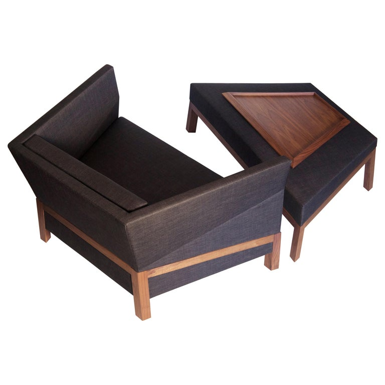 Bias Lounge Chair, Contemporary Faceted Armchair with Walnut Frame
