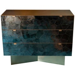 Brass and Mica Contemporary Chest of Drawers, France
