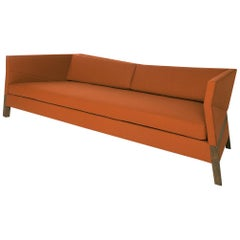 Bias Sofa, Contemporary Faceted Design with Walnut Frame