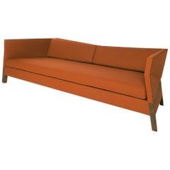 Bias Sofa, Contemporary Faceted Design with Walnut Frame