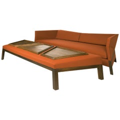 Bias Ottoman & Trays 2 Match Sofa, Faceted Upholstered Sofa Table, Walnut Frame