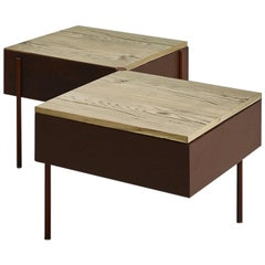 Contemporary Low Table, Etched Brass, Pivoting Doors, Stone Elm Shelves