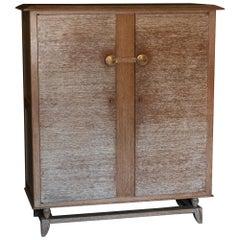 Esprit Jean Royère Ceruzè Oak Tall Cabinet, France, 1940s