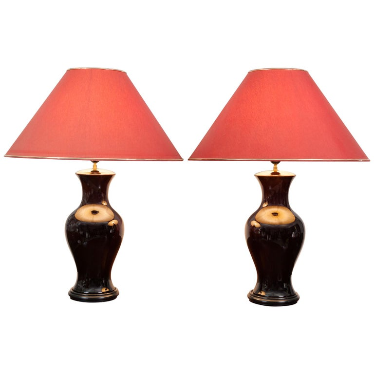 Pair of Belgium Brown Classic Glazed Ceramic Lamp Bases with Original Shades For Sale