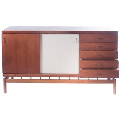 Tapiovaara Mid-Century Teak and Brass Sideboard for La Permanente Mobili, Italy