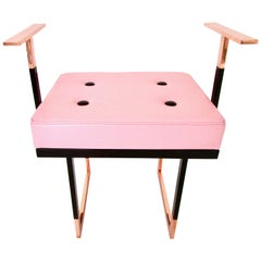 Mondrian Pink Pouf in Black and Pink Leather with Glossy Brass and Black Iron