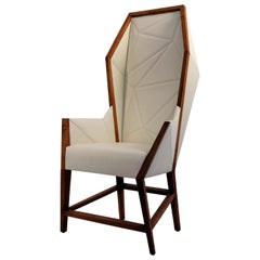 Bias Hooded Dining Host Chair, Inspired by Louis XV Sentry, Faceted Wood Frame