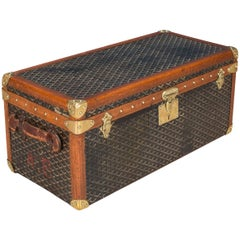 Antique 20th Century Rare Goyard Chevron Canvas Shoe Trunk, circa 1900