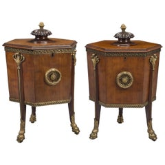 Pair of Late George III Mounted Mahogany Wine Coolers or Cellarettes