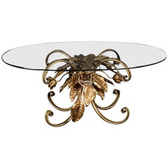 Italian Vintage Coffee Table Gilded Metal Leaves Oval Clear Glass Top, 1950s