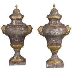 Pair of Gilt-Bronze Mounted Incarnat Turquin Marble Vases, circa 1880