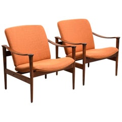 Pair of Model 711 Rosewood Armchairs by Fredrik A. Kayser, 1950s