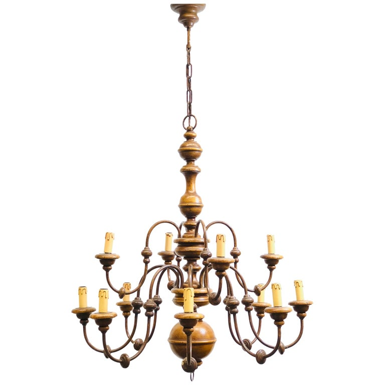 Florentine Florence Renaissance Style Wood and Metal Chandelier from Italy For Sale