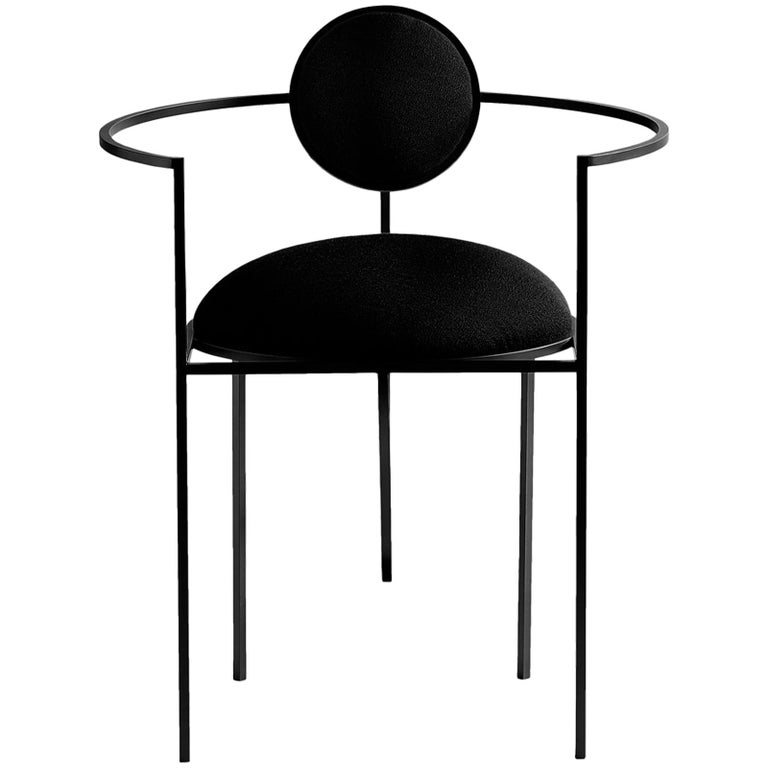 Lara Bohinc, Lunar Chair, Coated Steel and Wool Fabric, Black