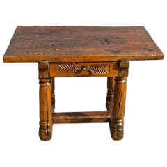 Late 16th-Early 17th Century Mixed Wood Single Drawer Spanish Mast Leg Table