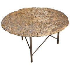 Brutalist Fusion/Brass Round Coffee Table, Italy, 2018