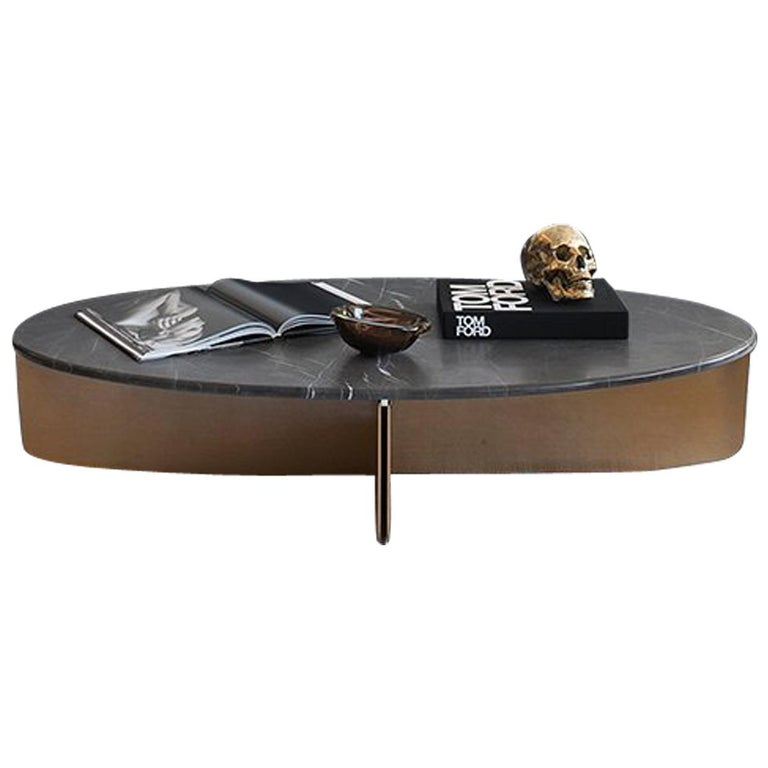 Bow Coffee Table, Contemporary Cocktail Table Marble Brushed Brass Finish