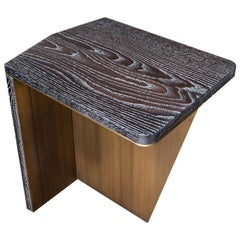 Aegialia Contemporary Side Table in Espresso Limed/Cerused Oak and Bronze Patina
