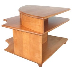 Mid-Century Modern Blonde Wood Corner Table