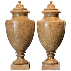 20th Century Italian Pair of Neoclassical Yellow Red Marble Urns Specimen