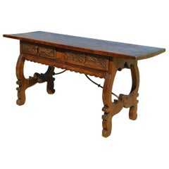 Mid-19th Century Spanish Lyre Leg Library Table, Poplar