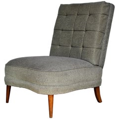 Tufted Slipper Lounge Chair in the Style of Billy Haines