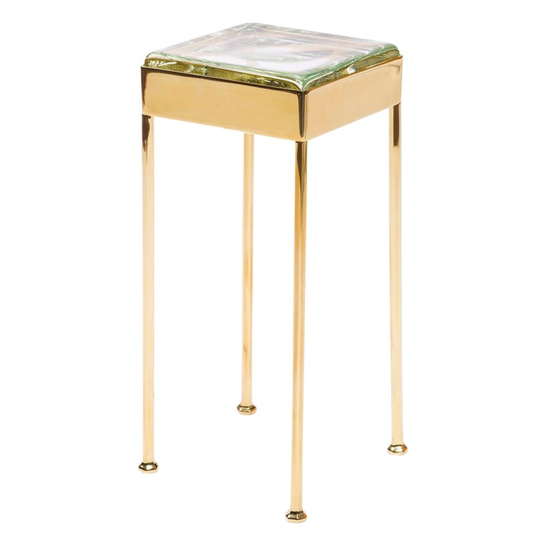 Glass Block Side Table For Sale