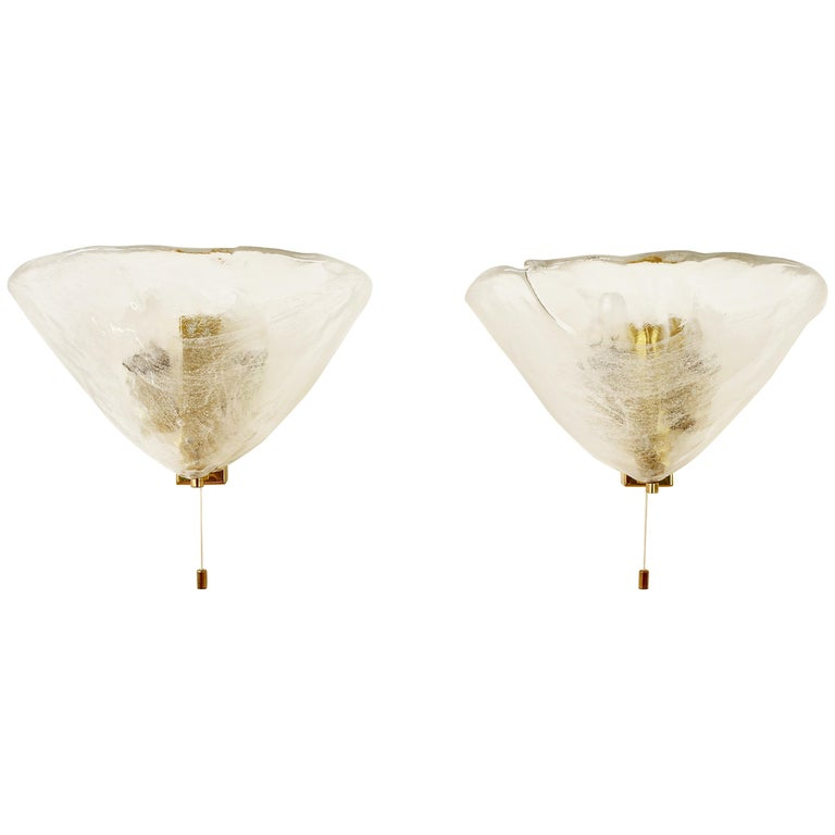 Mid-Century Pair of Kalmar 'Flower' Mazzega Glass Wall Lights or Sconces, 1960s