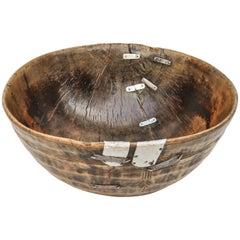 Large Vintage Tribal Wood Bowl, Metal Repairs, Fulani of Niger, Mid-20th Century