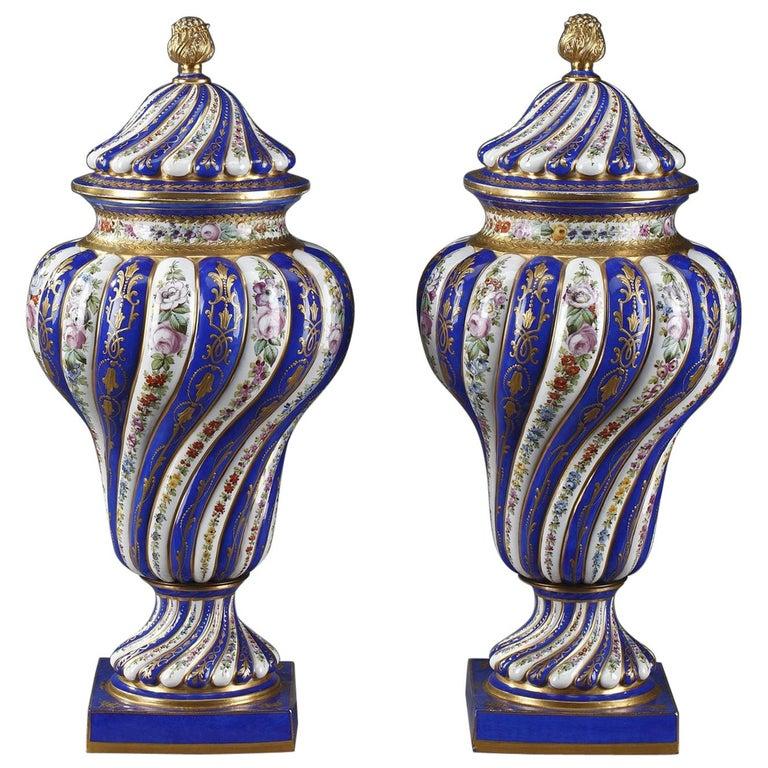 19th Century Pair Of Monumental Porcelain Antique Vases In Sevres