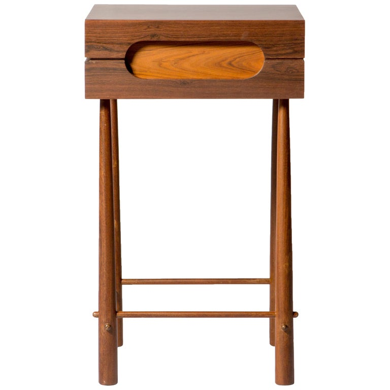 Contemporary Side Table, High Side Table in Brazilian Wood For Sale