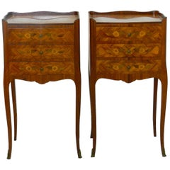 Pair of Nightstands French Bedside Tables Early 20th Century Louis Commodes