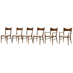 Set of Six Paul McCobb Dining Chairs, Two Arm, Four Side Chairs, Excellent