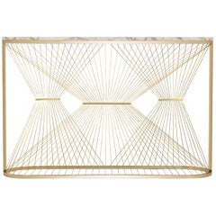 Contemporary Console Table with Marble, Brass and Steel, Handmade in Italy