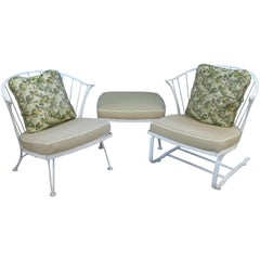 Vintage Pinecrest Lounge Chairs and Ottoman by Woodard