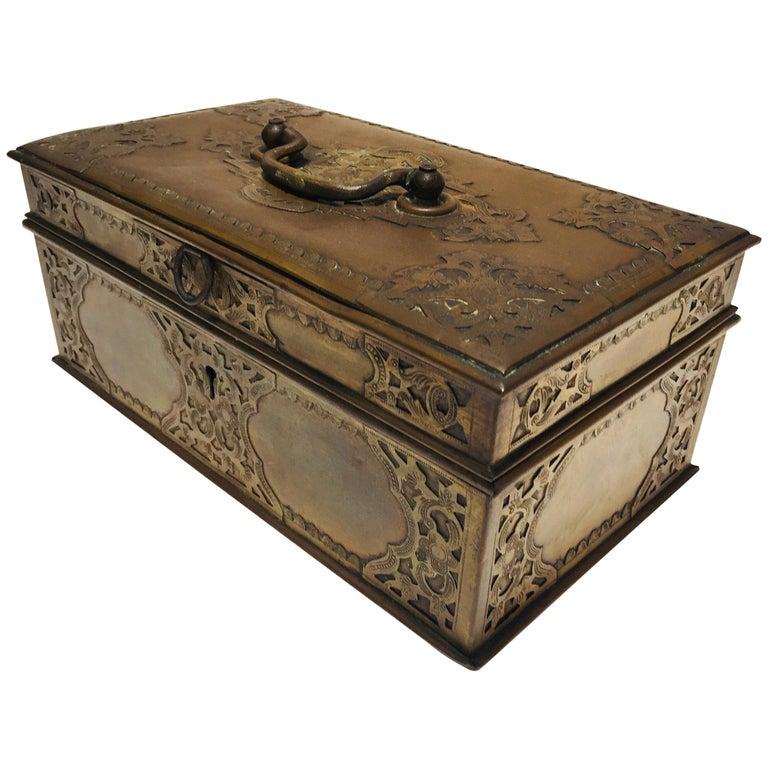 Antique Anglo Indian Georgian Brass Desk Box