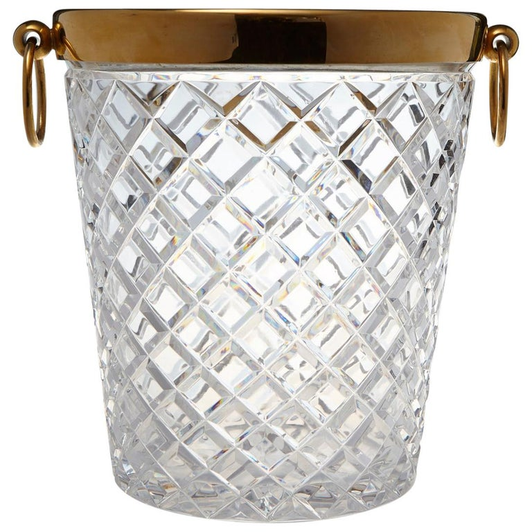 Belgian Crystal and Brass Ice Bucket, Saks Fifth Avenue's Guest and Gift, 1950s For Sale