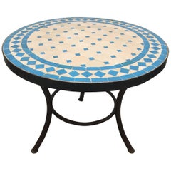 Moroccan Mosaic Outdoor Turquoise Tile Side Table on Low Iron Base