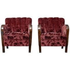 Pair of Swedish Art Deco Birch Shell Back Armchairs