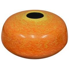 Large Japanese Kutani Hand-Painted Orange Porcelain Vase by Master Artist