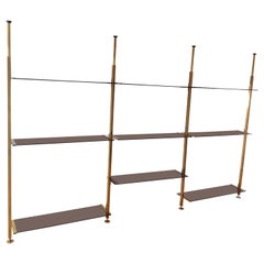Modular Brass Glass Shelving Unit