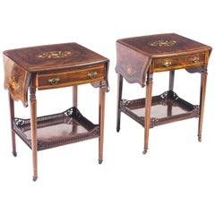 Antique Pair of English Marquetry Inlaid Occasional Bedside Tables, 19th Century